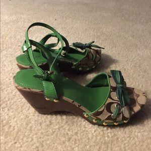 GUC Green Coach clog heel sandal Sz 9